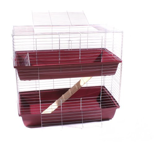 Hasenkäfig Kaninchen Meerschweinchen Nagerkäfig Kleintier 2 Ebenen 1m Doppel weinrot