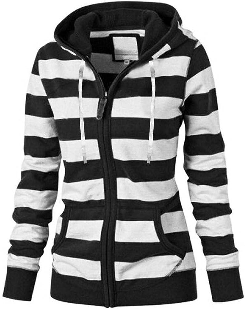 Women Striped Hooded Autumn Winter Long-Sleeve Zipper Pocket Sweatshirt Coat Basic Jacket Plus Size Cardigan Outwear