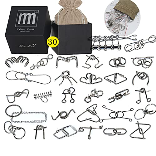 Meao 30 Pieces Thicker Metal Wire Brain Teaser with Pouch - Assembly & Disentanglement Puzzles Toys...