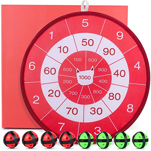 Gamenote Dart Board for Kids - Math Darts Game with Balls and Hook, Indoor and Outdoor Dartboard Activities for Birthday Holiday Party (13.8Inch)