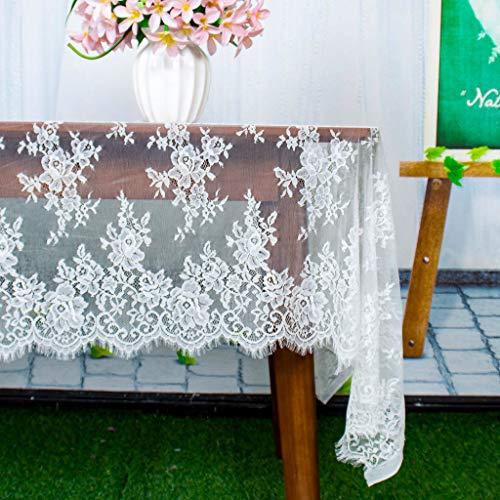 ShinyBeauty Mantel Rectangular de Encaje, 152 x 120 Pulgadas, diseño Floral Elegante T920, Mantel de Encaje, Blanco, 60x120-Inch (Blanco-024, 60x120 Pulgadas)