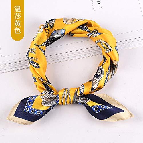 ZAMi Seidenschal Frühlings- und Herbstschal Weiblicher roter dünner Seidenschal Professional Business Schal-Windsor-gelb