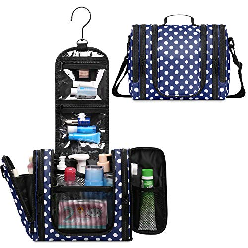 WANDF Expandable Toiletry Bag Hanging Dopp Kit TSA Approved Bottles Water-Resistant Bathroom Bag for Men Women Water-resistant (Navy Blue Polka Dots)
