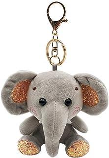 Fenical, portachiavi in peluche con elefante, per bambini adulti, grigio