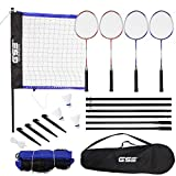 GSE Games & Sports Expert Portable Badminton Complete Set. Including Badminton Net, 4 Badminton Racquets & 3 Shuttlecocks (Recreational Badminton Set)