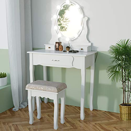 JAXPETY 3-Drawer Vanity Table Set w/Mirror & Cushioned Stool, Wood Makeup Dressing Table with Adjustable Color Lights Kit, White