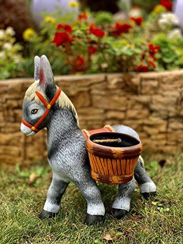 Troyan Gartenfigur Esel mit Zwei Töpfen, handgefertigt, aus Ton, handbemalt, wetterfest