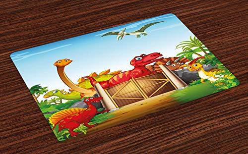 Dino-Platzsets, Cartoon-Stil, Dinosaurier in einem Dino-Park, Dschungelbäume, Wildlife Habitat Illustration, waschbar, Stoff-Tischsets für Esstisch, Standardgröße, rostblau, 39,9 x 59,9 cm