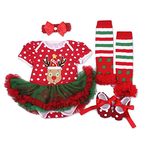 Doll Clothes Outfit for 20'-23' Reborn Baby Red Tutu Dress 4 Pcs/Set