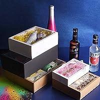 透明PVCウィンドウギフトボックス包装箱のギフトボックス付10ピース折りたたみクラフト紙箱 (色 : ブラック, サイズ : 21x16x7cm)