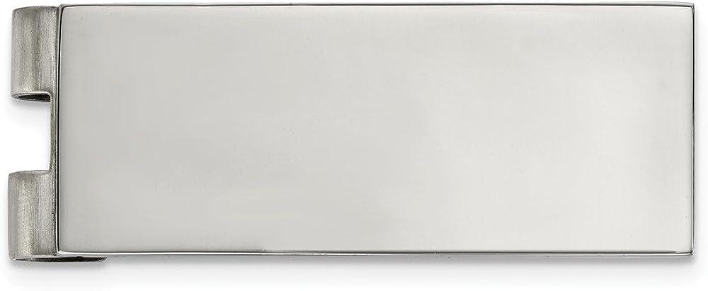Solid Stainless Steel Men's Slim Business Credit Card Holder Money Clip - 53mm x 20mm