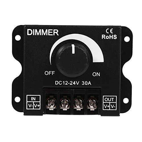 GOTOTOP Dimmer con Interruttore a LED 12V/24V DC 30A, Luce LED con Interruttore a manopola Controllo dimmer Funzionamento Manuale per Luce di Striscia Monocolore