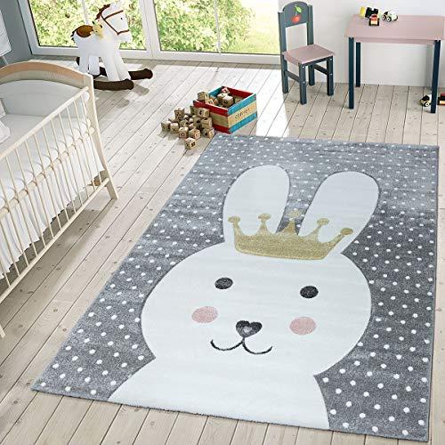TT Home Kinder Teppich Modern Süßer Hase Mit Krone Punkte Design Spielteppich Grau Weiß,...