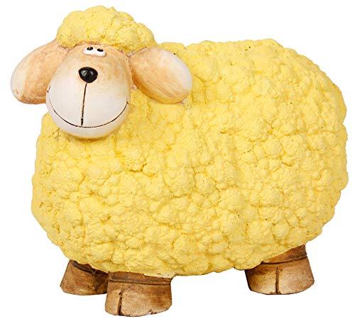 Sell-tex Gartenfigur Schaf, Tierfigur, frostsicher, wetterfest, handbemalte Gartendeko, innen & außen, Keramik, pink, gelb, grün (Gelb)