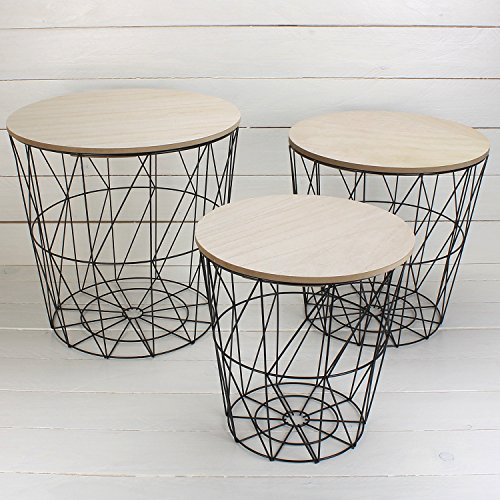 3er Set Schwarze Metalltische mit MDF Holzplatte / Wohnzimmertisch / Beistelltisch / Deko-Tisch / Dekorativ und stabil / 3 verschiedene Größen