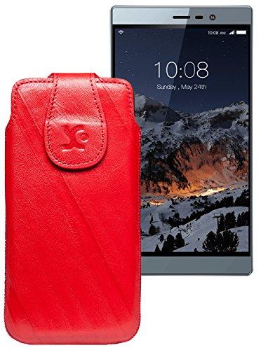 Original Suncase Tasche für Switel eSmart M3 | Leder Etui Handytasche Ledertasche Schutzhülle Hülle Hülle / in wash-rot