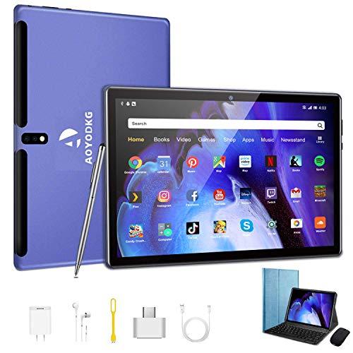 Tablet 10 Pollici -4G LTE +Dual Sim Carta+ WIFI con 10.1   IPS, Android 9, 4GB RAM + 64GB ROM, Quad-Core, adatto alla WIFI Bluetooth GPS OTG,Suono Stereo con Doppio Altoparlante – Blu