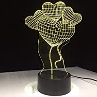 3DLedランプナイトラブハートバルーンクリエイティブバレンタインデーギフト7色変更ランプアクリル新年ギフト家の装飾