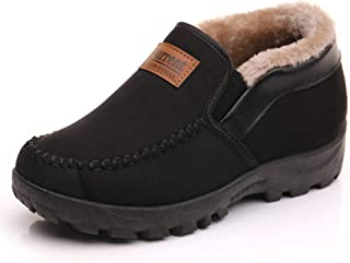 Asifn Men's Moccasins Slippers Slip,on Plush Loafers Warm Fur Lined Walking Driving Shoes Indoor Outdoor Short Boot Winter Snow Boots,Black,11 US,28 cm Heel to Toe