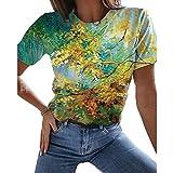 Maglietta da Donna Colore Misto Moda Resistente agli strizzacervelli Abbigliamento da Strada Colletto Tondo Comodo t-Shirt Casual Morbida Quotidiana