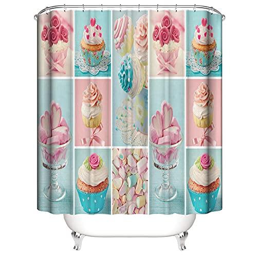 Duschvorhang Anti-Schimmel Wasserdicht Polyestergewebe Antibakteriell Vorhang für Dusche & Badewanne, 3D Kuchen,mit 12 Haken, Duschvorhang Waschbar 180x200 cm