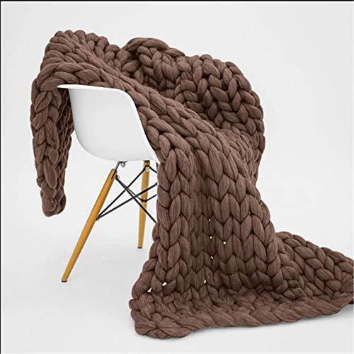 RAILONCH Gestrickte Grobe Strickdecke Wolle Kuscheldecke Grobstrick Wolldecke Strickdecke Tagesdecke Überwurf Decke Zuhause Dekor (Dunkles Khaki,120×180cm)