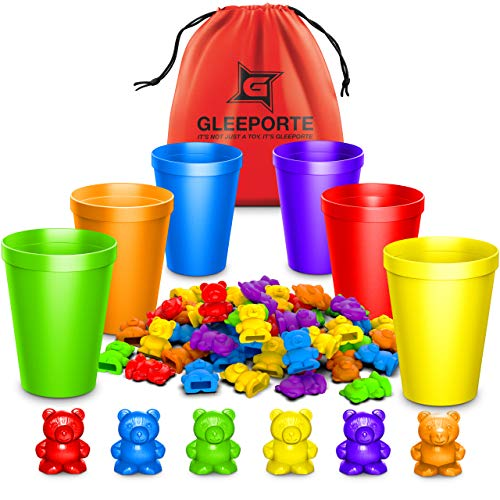 Rainbow Counting Bears With Matching Sorting Cups (67 Pcs Set) + FREE Storage Bag | STEM Educational Gift For Toddler | Montessori Sorting And Counting Toy | Pre-School Color Learning Toy For Children
