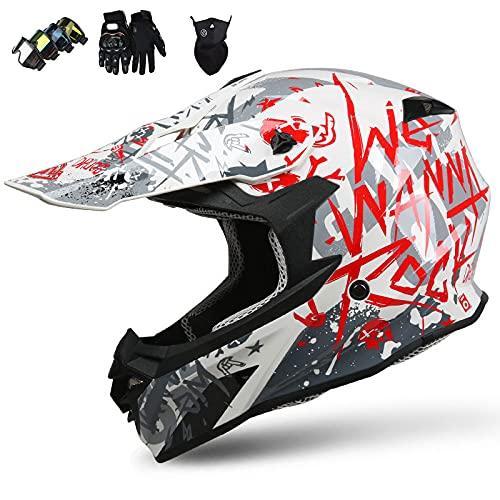 KIVEM Casco de Motocross para Niños (4 Piezas) - Casco de Moto Casco de Todoterreno Integrales Adultos Quad Bike Downhill ATV MTB Go Karting Casco,L