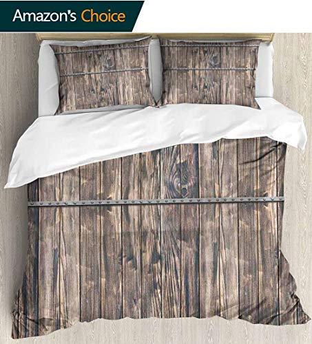 "Wooden 3D Bedding Quilt Set,Rustic Wooden Long Farmhouse Themed Planks with Screws and Lines Nature Art Reversible Coverlet,Bedspread,Gifts for Girls Women 87"" W x 102"" L Brown and Grey"