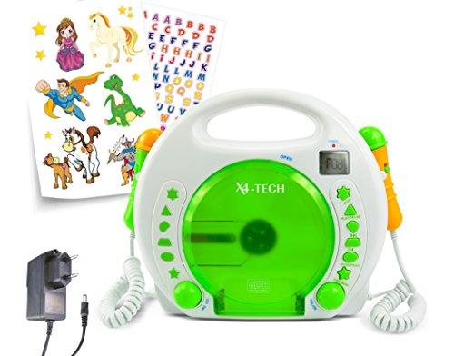 X4-Tech Bobby Joey Kinder - Reproductor de CD y MP3 (con batería Recargable, Tarjeta SD, USB) Color Blanco y Verde