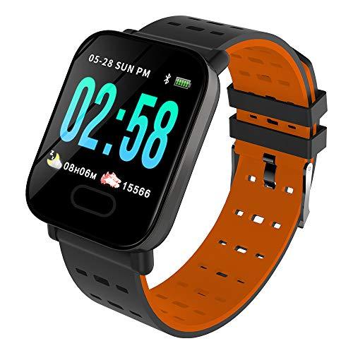 Wancooy- - Monitor de actividad física impermeable con monitor de frecuencia cardíaca, color naranja