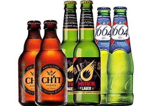 Französisches Bier Paket mit 6 Bieren - Biere aus Frankreich vom milden Pale Ale bis zur regionalen Bier-Spezialität als Bière de Garde in der edlen 75 cl Bierflasche mit Korkverschluss