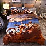 NTBED Extreme Sport Comforter Set Full, Motorcycle Off-Road Printed Reversible Quilt Motocross Dirt Bike Teens Boys Bedding Sets (Blue, Full)