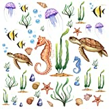 RW-1085 3D Ocean Wall Decals Undersea Wall Stickers Wall Arts Decals View Under Sea Decors Removable DIY Stickers for Kids Babys Bedroom Bathroom Living Room Nursery Wall Decoration