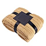 Luxury Cable Sweater Knitting Throw Blanket Quilt Throw with Sherpa Lining Khaki