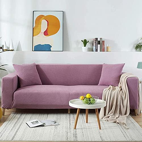 HZYDD Funda de sofá de alta elasticidad, funda de sofá de punto jacquard antideslizante, protector de muebles para mascotas y niños, color morado L: 190-230 cm