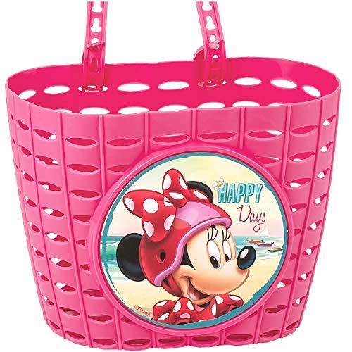 alles-meine.de GmbH Fahrradkorb / Korb - Disney - Minnie Mouse - mit Befestigung für Lenker vorne - Fahrrad Kinder - Mädchen - Bastkorb - universal auch für Roller und Dreirad La..
