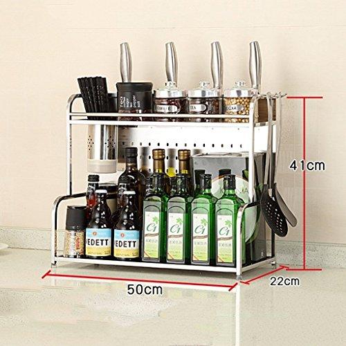 ILQ Étagère de cuisine Étagère à condiments étagère / 304 en acier inoxydable étagère de rangement / porte-couteau, avec des crochets et une coupe de baguettes,50 CM