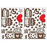 TOYANDONA 2 Feuilles Tasse à Café Stickers Muraux PVC Amovible Impression Décoration Murale Auto-Adhésif Bricolage Mur Art...