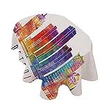 Mantel ovalado Detroit Decor, de poliéster, diseño abstracto de colores vibrantes, rascacielos, arquitectura moderna, acuarela, decoración de poliéster, 150 x 120 cm, para comedor y fiesta, multicolor