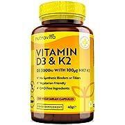 Vitamin D 3,000 IU & Vitamin K2 100ug MK7 Vegetarian Capsules - 120 Days Supply of Vitamin D3 Supplement Source of Cholecalciferol - Made in The UK by Nutravita