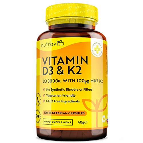 Vitamin D 3,000 IU & Vitamin K2 100ug MK7 Vegetarian Capsules - 120 Days Supply of Vitamin D3 Supplement Source of Cholecalciferol - Made in The UK by Nutravita