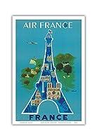 フランス - エアフランス - エッフェル塔、パリ - ビンテージな航空会社のポスター によって作成された ベルナール・ヴィユモ c.1952 - アートポスター - 31cm x 46cm