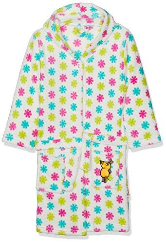 Playshoes Kinder Fleece-Bademantel mit Kapuze, flauschiger Morgenmantel für Mädchen, die Maus-, Blumen-Stickung gepunktet
