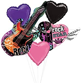 Mayflower Products Rock Star Birthday Party Supplies Rocker Girl Guitar Balloon Bouquet Decorations