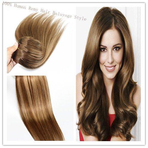 Lot de 10 extensions de cheveux raides à clips pour cheveux humains Remay Brun avec blond vénitien 35,6 cm 40,6 cm 45,7 cm 50,8 cm 55,9 cm