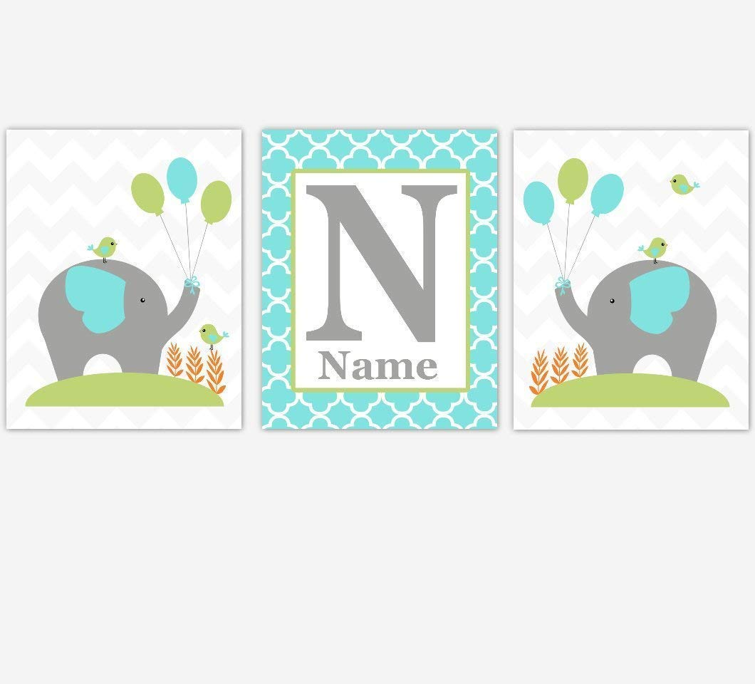 Baby Boy Nursery Decor Challenge the lowest price Turquoise Elephant Max 46% OFF Safari Teal Green Pers