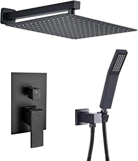 SHAMANDA Brass Rainfall Shower System, Luxuly Bathroom Shower Faucet Combo Set Matte Black (Including Rough-In Valve Body and Trim), L7001-7