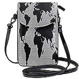 XCNGG Monedero pequeño para teléfono celular World Mosaic Stones Glass Pattern Cell Phone Purse Wallet for Women Girl Small Crossbody Purse Bags