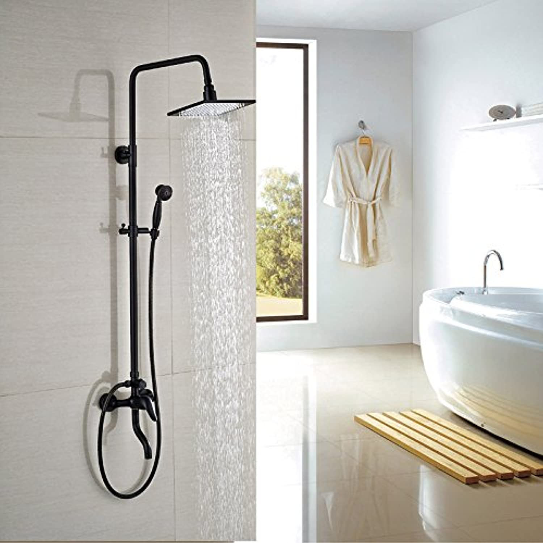 Luxurious shower 8  Square Regenduschkopf Badezimmer Dusche Armatur mit Handbrause Wandmontage einzigen Griff mit Wanne Tülle, Schwarz
